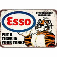 """Esso Gas Oil Put a Tiger in Your Tank, Metal Tin Decorative Garage Sign 12"""" x 8"""""""