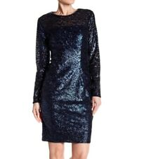 Carmen Marc Valvo Infusion NWT Womens Dress Blue Sequin Cocktail Sheath Size 6