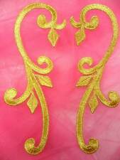 "GB364 Gold Embroidered Mirror Pair Iron On Appliques 6"" DIY Sewing Crafts Dance"