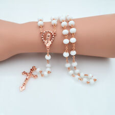 Women Catholic Virgin Mary Rose Gold Plated Porcelain White Crystal Beads Rosary