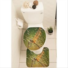 Dragonfly Set of 3 Bathroom Rug Set Mat Toilet Lid Cover y70 y0086