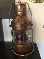 Vintage Style Huge Copper & Brass Ships Navigation Port oil lamp