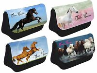 Personalised Horse Pony Pencil Case Make up bag School Xmas Birthday Gift Girls