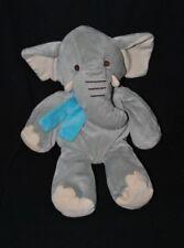 Peluche doudou éléphant PLAYKIDS CMI gris beige écharpe bleu 35 cm TTBE