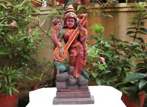 Saraswati Statue Antique Wooden Sculpture Hindu Goddess Figurine Decor Puja Idol