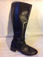 Ken Black Knee High Leather Boots Size 37