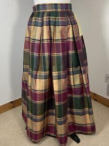 Claire Charles Tartan Silk Skirt Size M Scottish Plaid Hogmanay Gold Green