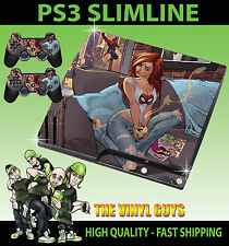 PLAYSTATION PS3 SLIM STICKER MARY JANE SPIDERMAN GIRL REDHEAD SKIN & 2 PAD SKINS