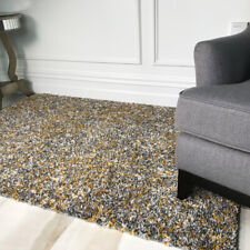 Soft Speckled Yellow Gray Mottled Shaggy Rugs Non Shed Carpet Lounge Bedroom Rug