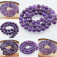 "Grade A Natural Amethyst Gemstone Round Beads 3mm 4mm 6mm 8mm 10mm 12mm 16"""