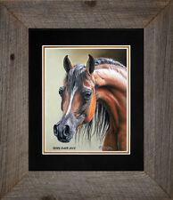 "Framed ""Arabian Mare"" Horse Art Print 8""x10"" Barn Wood Frame by Roby Baer"