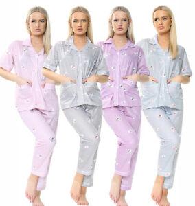 Womens Ladies PJ Pyjama Set 100% Cotton Printed Cosy Warm Soft Nightwear.