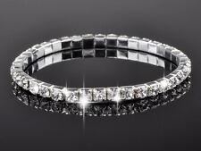 Fashion Women Bling Clear Crystal Bracelet Bangle Wedding Bridal Wristband New