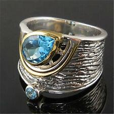 Women Fashion Two Tone 925 Silver Rings Jewelry Aquamarine Ring Size 6-10