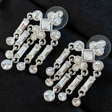 NOLAN MILLER Earrings Chandelier Clear White Austrian Crystal Post Silver PROM