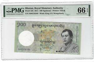 P-32b 2011 100 Ngultrum, Bhutan, Royal Monetary Authority, PMG 66EPQ GEM +