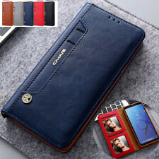 For Samsung S10 S20 Leather Wallet Card photo Slot Slim Case Magnetic Flip Cover