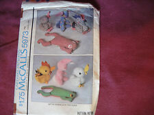 Vtg McCalls Pattern 5973 Stuffed Animals 1978 Frog Rabbit Duck Rooster 2 Sizes