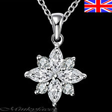 "925 Sterling Silver plt Crystal Necklace Flower Snowflake 18"" Free Gift Bag"