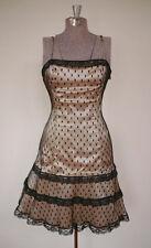 Vintage 50s Black Lace Scoop Back Shimmer Cocktail Dress Spaghetti Strap Tulle