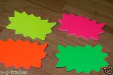 """Lot Of 100 Solar Star Burst 3"""" x 5"""" Sign Cards 4 - Colors Retail Store Supplies"""