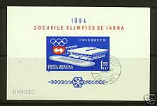 1964 Romania SC 1604a Souvenir Sheet SS, Winter Olympics - Used