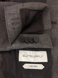 NWT $399 Suitsupply Mens Havana Half Lined Brown 100% Linen Sport Coat Sz 40R 50