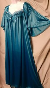 """Comfort Choice TEAL Blue NIGHTGOWN Long Short Sleeve NYLON SIZE 5X  72"""" BUST"""