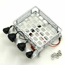 Metal Roof Luggage Rack W/ 4 LED Light for Axial SCX10 CC01 1/10 RC Crawler #C Y