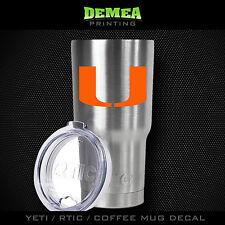 Miami - U -Yeti/Rtic/Yeti Rambler/Tumbler/Coffee Mug-Decal-Orange