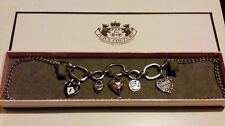 """Fantastic JUICY COUTURE Silver Heart Charms Link Chain 27"""" NECKLACE*****"""