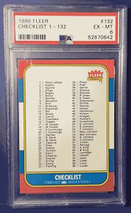 1986 Fleer Basketball CHECKLIST #132 PSA 6 EX-NM (Xplor_Sports)