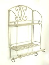 French Vintage Style Metal Double Wall Shelf Unit Rack Towel Rail Shabby Chic
