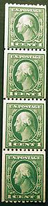 #448 1c Green 1915 Coil Strip of 4 *MNH*