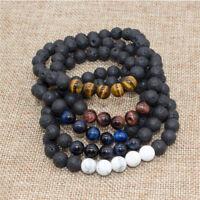 8mm Natural Aromatherapy Lava Stone Beads Healing Mens Bracelet Xmas Bracelets