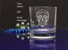 Personalised SUGAR SKULL engraved whiskey glass for Birthday, Christmas gift 137