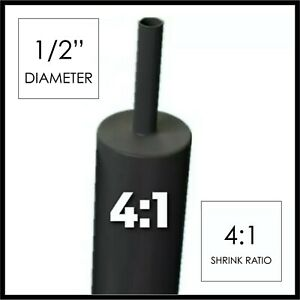 "(4 FT) 1/2"" Black Heat Shrink Tube 4:1 Dual Wall Adhesive .5"" inch/glue/"