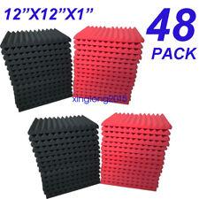 "48 Pack - Acoustic Panels Studio Soundproofing Foam Wedge tiles 1""x12""x12"""