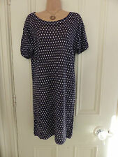 Jigsaw size S navy blue v thin knit jumper dress, short sleeves and white dots