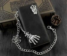 New Skull Hand Biker Punk Mens Real Leather Long Wallet with Jeans Key Chain