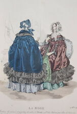 GRAVURE COULEURS LA MODE 1841-OLD FASHION PRINT XIXe SIECLE COSTUME MD60