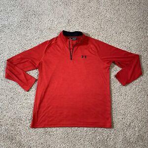 Men's Under Armour Heat Gear Loose Fit Red 1/4 Zip Pullover Sz XXL