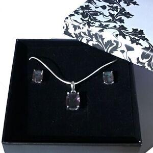 Sterling Silver Mystic Topaz Crystal Pendant & stud earrings Valentines Gift