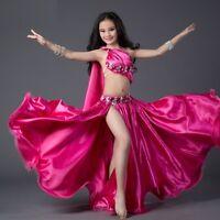 KID's Rhinestones Satin Bra Top+Slit Long Skirt 2pcs set Belly Dance Costumes WZ