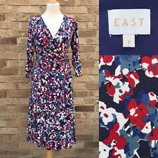 East Faux Wrap Dress UK 8 Blue Red Multi Floral Print Stretch V Neck Boho Arty