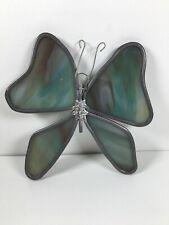 Stained Glass Butterfly Suncatcher 5� Green