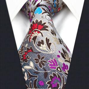 S&W SHLAX&WING Men's Tie Necktie Multicolor Floral Silk Jacquard Woven