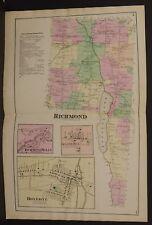 New York  Ontario County Map Richmond Township 1874 Dbl Pg  W15#13