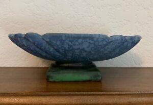 Weller Pottery..... Blue Sydonia Mottled Matte Blue dish with green & black base