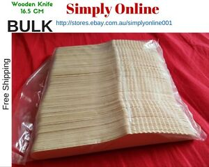WOODEN BIRCH KNIVES BULK PACK OF 100 BIODEGRADABLE NATURAL ECO FRIENDLY PARTY